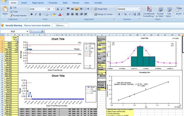 excel control chart template